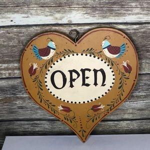 Tole painted open shut door sign Scandinavian Vtg